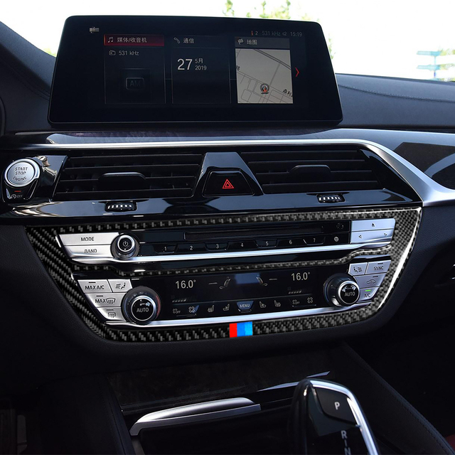 Car Interior Carbon Fiber Decals Auto Air Conditioning CD Panel Stickers Car Styling for BMW 528i 530i 540i 5 Series G38 2018