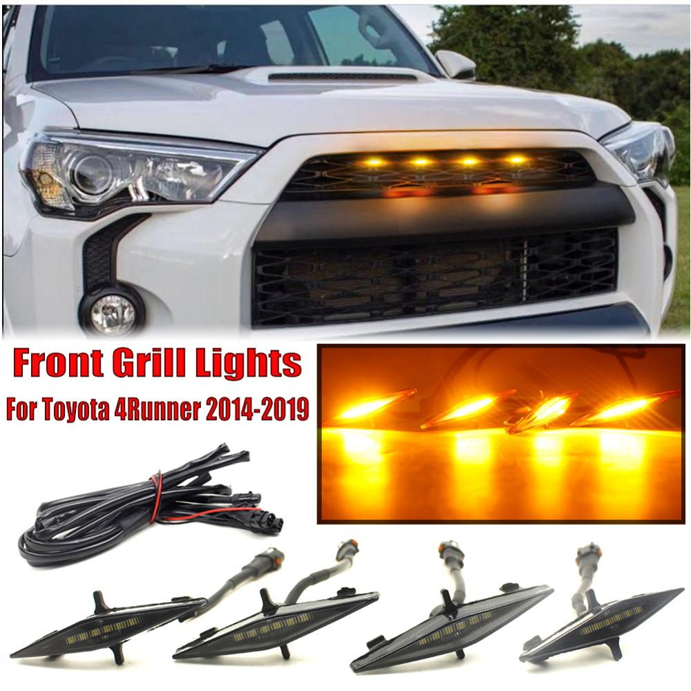 4pcs/set Smoked Lens Amber Front Grille Lighting Kit For <font><b>Toyota</b></font> <font><b>4Runner</b></font> TRD Pro Grille 2014 <font><b>2015</b></font> 2016 2017-2019 Grille Lights image