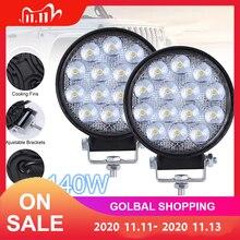 2pcs 140W 6000K 14000LM Circular Waterproof LED Work Light Car Headlight Bulbs for Off Road Suv Boat 4X4 Jeep Truck Cars