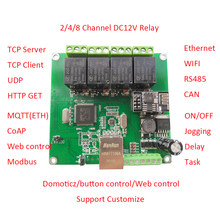 dtwonder modbus/domoticz/ethernet/rs485/can/wifi/web server/tcp/udp 4 channel delay switch relay board