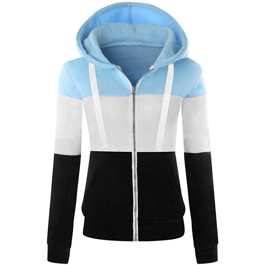 FREE OSTRICH Winter dress casual long sleeve zipper hoodie splice color contrast coat