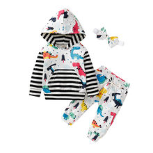 Casual Infant Baby Boys Girl clothes Cartoon Striped Pullover Hoodie T-shirt Tops+Pants Headbands Outfits Tracksuit Clothing set(China)