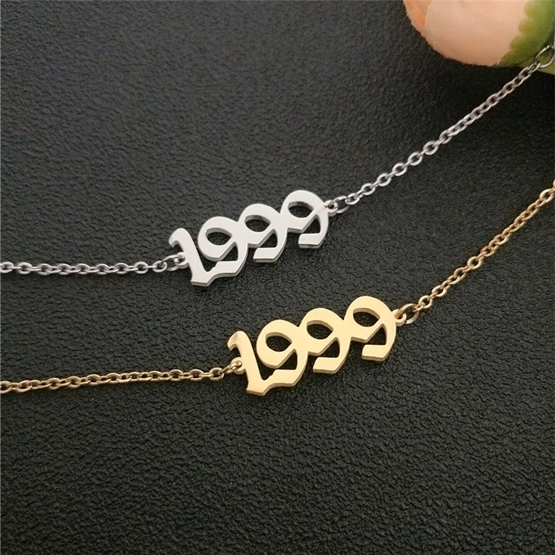 Anklet Chain For Women Custom Birthday Gift 1999 Old English Number Anklets Stainless Steel Jewelry Birth Year Enkelbanden 5