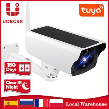 Tuya kamera WIFI zewnętrzna 1080P HD bezprzewodowa kamera bezpieczeństwa słonecznego IP66 wodoodporna bateria nadzoru Bullet Cam Smart Life APP tanie i dobre opinie UDECER Kamera IP 1080 p (full hd) KAMERA BULLET NONE Przez IP sieć bezprzewodową CN (pochodzenie) Side Boczne WHITE