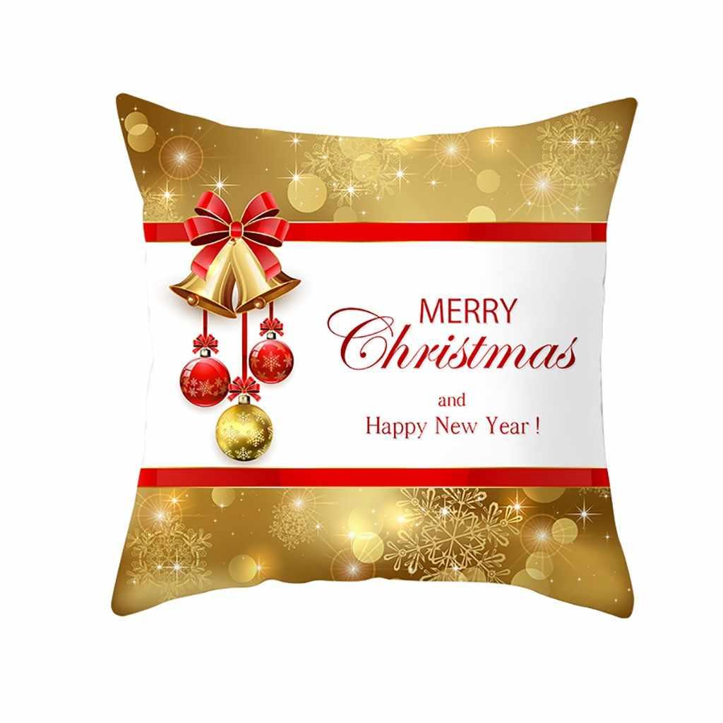 جديد عيد ميلاد سعيد الحلي المنزل السنة الجديدة 16 أنماط مخدة ناعمة حالة الرنة ندفة الثلج سانتا كلوز غطاء وسادة للديكور