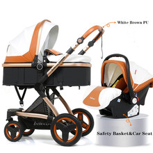 3 in 1 High Landscape Baby Stroller PU Leather Infant Travel Pram Folding Carriage Basket Car seat 0-3Y