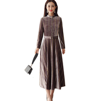 New Lent Herfst Dress Elegant Retro Party Dress plus size Maxi Gold velvet Office Jurken Vestidos AL779