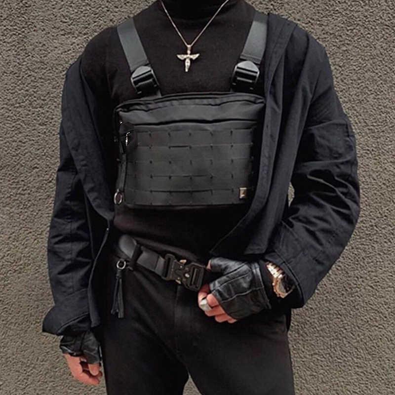 Женская Мужская нагрудная сумка Уличная Военная Kanye нагрудная из ткани Оксфорд Риг сумки хип хоп мода Ipad планшет черная поясная сумка