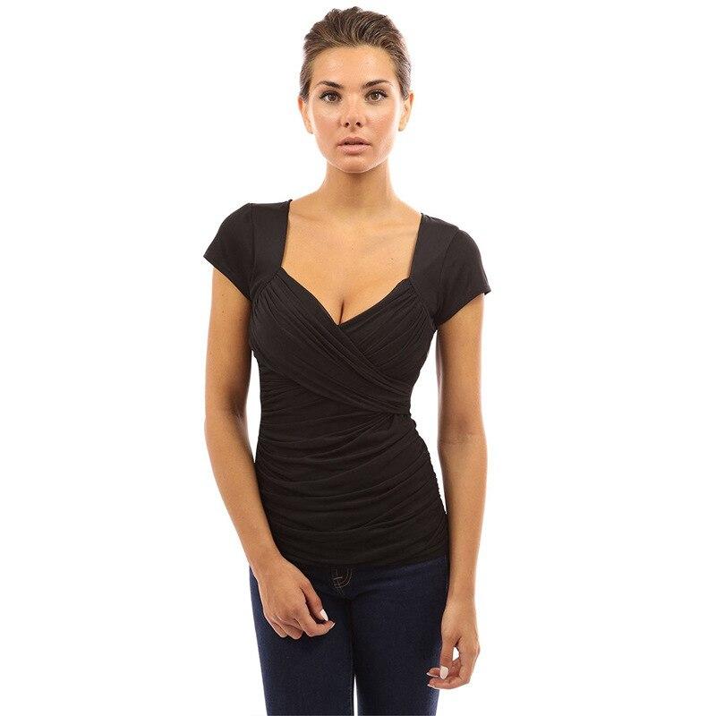 Summer 2020 New Low-cut Slim Pleated T-shirt   126