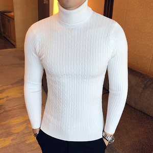 Newest Men Winter Casual Solid Color Turtle Neck Long Sleeve Twist Knitted Slim Sweater Top