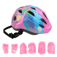 7 Pieces Kid Kind Roller Skating Bike Helm Knie Handgelenk Schutz Ellenbogen Pad Set