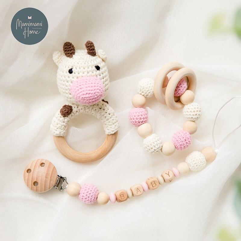 1set Crochet Amigurumi Elephant Owl Rattle Bell Baby Toys Custom Newborn Pacifier Clip Montessori Toy Educational Children Goods