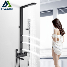 rozin Black Bathroom Faucet Shower kit Rainfall Shower faucet Column wall mount back Spa with bidet bath Mixer Shower system