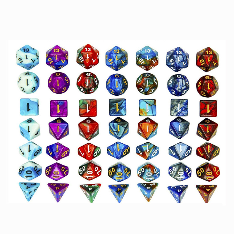 15 Kinds Option High Quality Two-color Digital Dice With Pearlized Effect Dice Set 7PCS/LOT Polyhedral Dice