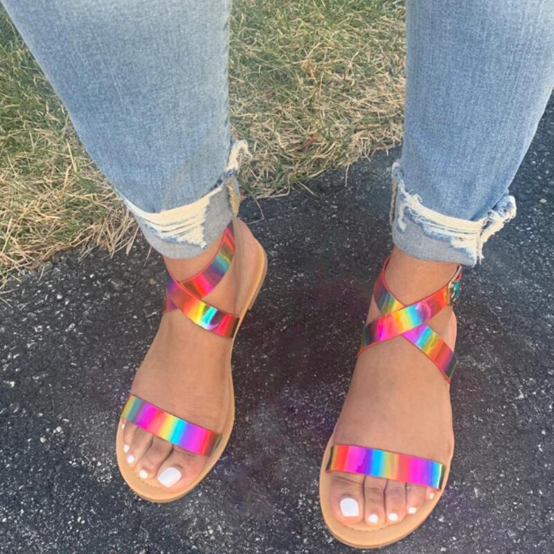 Candy Color 2020 Boho Sandals Women Beach Footwear Flat Sandals Women Cross Ankle Sandals Plus Size Summer Fashion Woman Shoes