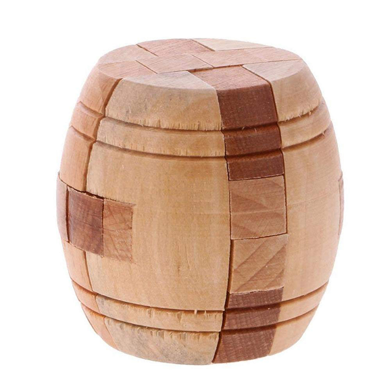 New Cube Kong Ming Luban Lock Barrel Shape Classical Intellectual Toy IQ Brain Teaser Training Test Wooden Puzzle For Children