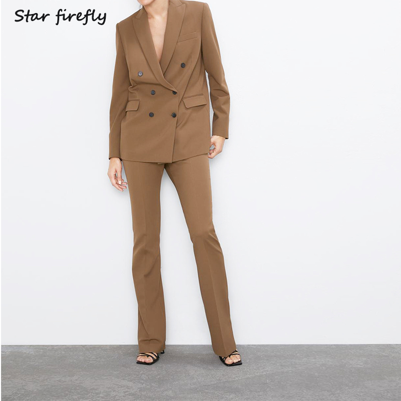 Star Firefly Suit Pants Set Two-piece Female 2019 Buttons Casual Blazer High Waist Flare Pants Set Elegant Women Working Wearing