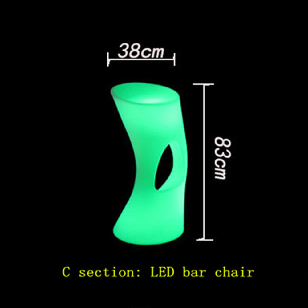 New Luminous Waterproof Chair Stool LED Bar Chair Barstool Upholstered LEDCommercial Bar Furniture Bar Stools Bar Stools Modern