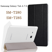 Tablet case for funda Samsung Galaxy Tab A 7.0 2016 case SM-T280 SM-T285 T280 T285 leather flip cover stand case protective shel for samsung galaxy tab a 7 0 t280 sm t280 t280n t285 high quality ultra slim silk 3 fold transparent cover stand pu leather case
