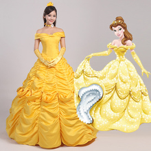 Beauty and the Beast Adult Costumes Luxurious Princess Belle Dress Cosplay Prom Costume