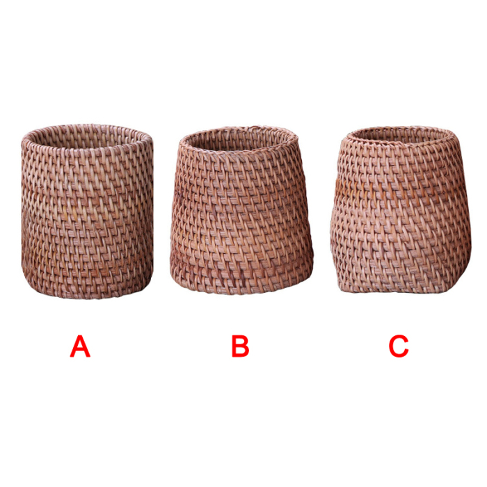 Economical Handmade Rattan Weaving Tea Ceremony Accessories Storage Box Stationery Pen Holder ds99