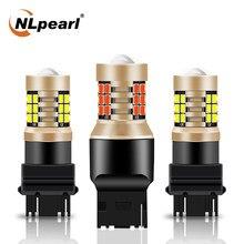 Nlpearl 2x lâmpada de sinal t25 3157 p27/7w lâmpadas de carro led 2835smd p27w 3156 led auto turn signal luz reversa 12v branco vermelho