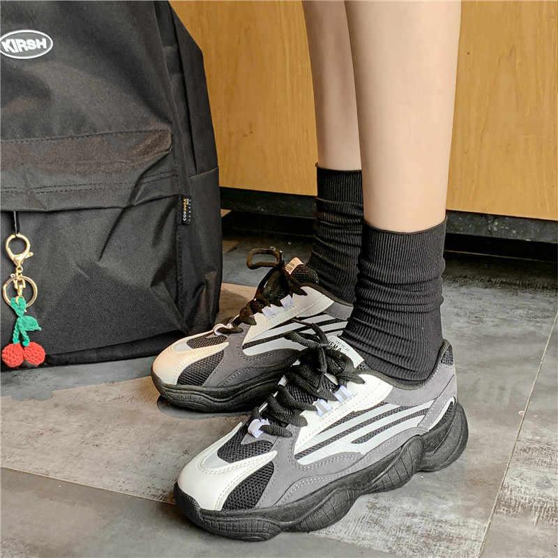 Trampki kobiety jesień 2019 nowy na co dzień oddychające oczek czerwony gruby dno stare tata buty dzikie oddychające buty z włókna kokosowego damskie buty