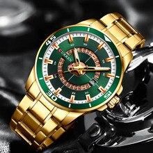 Мужские часы Curren Green Gold из нержавеющей стали Кварцевые Мужские наручные часы спортивные часы мужские деловые золотые часы мужские водонепроницаемые