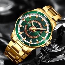 Curren Men Watch Green Gold Stainless Steel Quartz Mens Wrist Watches Sport Watches Man Business Gold Watch Men Waterproof