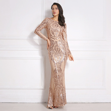 Full Sleeved Sequined Maxi Dress Gold Burgundy O Neck Stretchy Autumn Winter Long Evening Party