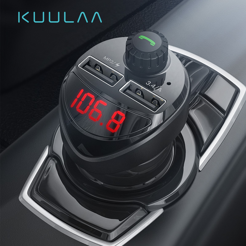 KUULAA Car Charger with FM Transmitter Bluetooth Receiver Audio MP3 Player TF Card Car Kit 3.4A Dual USB Car Phone Charger