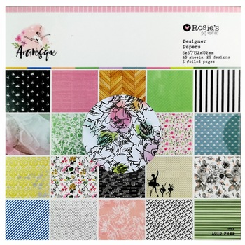 """CRZCrafter 6"""" x 6 Inch Scrapbooking Paper Pattern Pad 40 Sheets Crafts Papers Background Pack Acid Free Embellishments 152x152mm 1"""