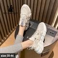 Женские кроссовки на массивной платформе; Коллекция 2021 года; Модная весенняя дышащая удобная повседневная спортивная обувь для бега; Цвет б...