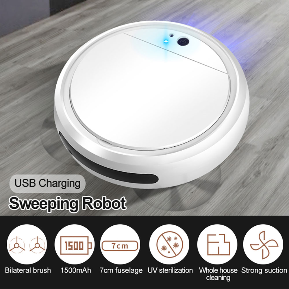 Multi-functional Smart Sweeping Robot 7-in-1 Portable Auto Vacuum Cleaner Rechargeable Strong Suction Cordless Cleaning Robot