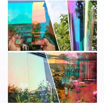 SUNICE 2 kolory okno odcień dichroiczne folie okienne przezroczysty dwukierunkowa rolek do przyciemniania samoprzylepne naklejki festiwal Decor 45x500cm tanie i dobre opinie 80 -100 Boczne Szyby Window Film 0 4kg Dekoracyjne folia i tatuaże 45cm Chameleon Effect Rainbow Folie okienne i ochrona słoneczna