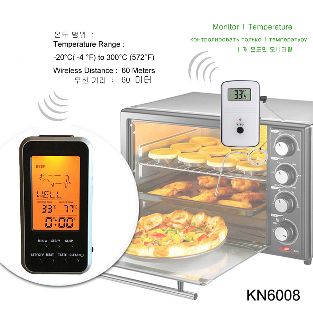 Digital BBQ Thermometer Wireless Kitchen Oven Food Cooking Grill Smoker Meat Thermometer with Probe and Timer Temperature Alarm 4