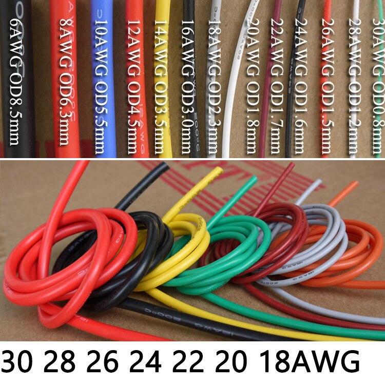 1M/5M câble résistant à la chaleur fil de Silicone souple 30 28 26 24 22 20 18AWG cuivre Flexible électronique haute température fils déclairage