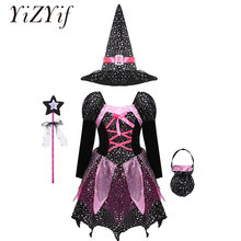 Kids Girls Halloween Witch cosplay Costume Long Sleeve Sparkly Silver Stars Printed Dress with Pointed Hat Wand Candy Bag Set(China)