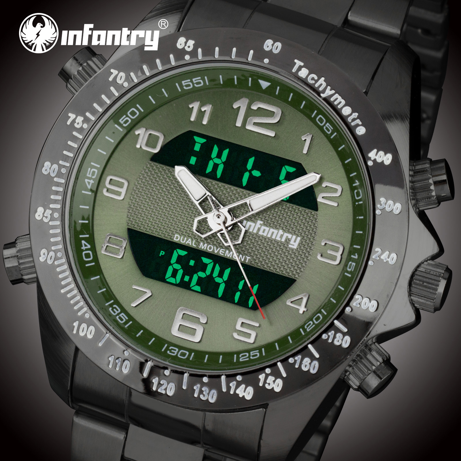 INFANTRY Mens Watches Top Brand Luxury Men Big Sport Army Watches for Men Black Relogio Masculino Analog Digital Military Watch Quartz Watches    - title=
