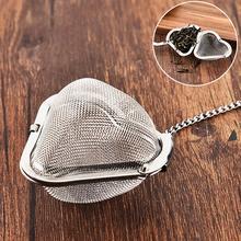 1 шт. в форме сердца Нержавеющая сталь сетка для заварки чая фильтр с цепочкой крюк дома кухонные аксессуары