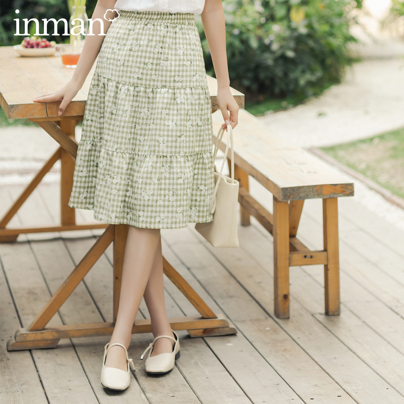 INAMN 2020 Summer New Arrival High Waist Check Sweet Shivering Pure Cotton Literary A-line Skirt