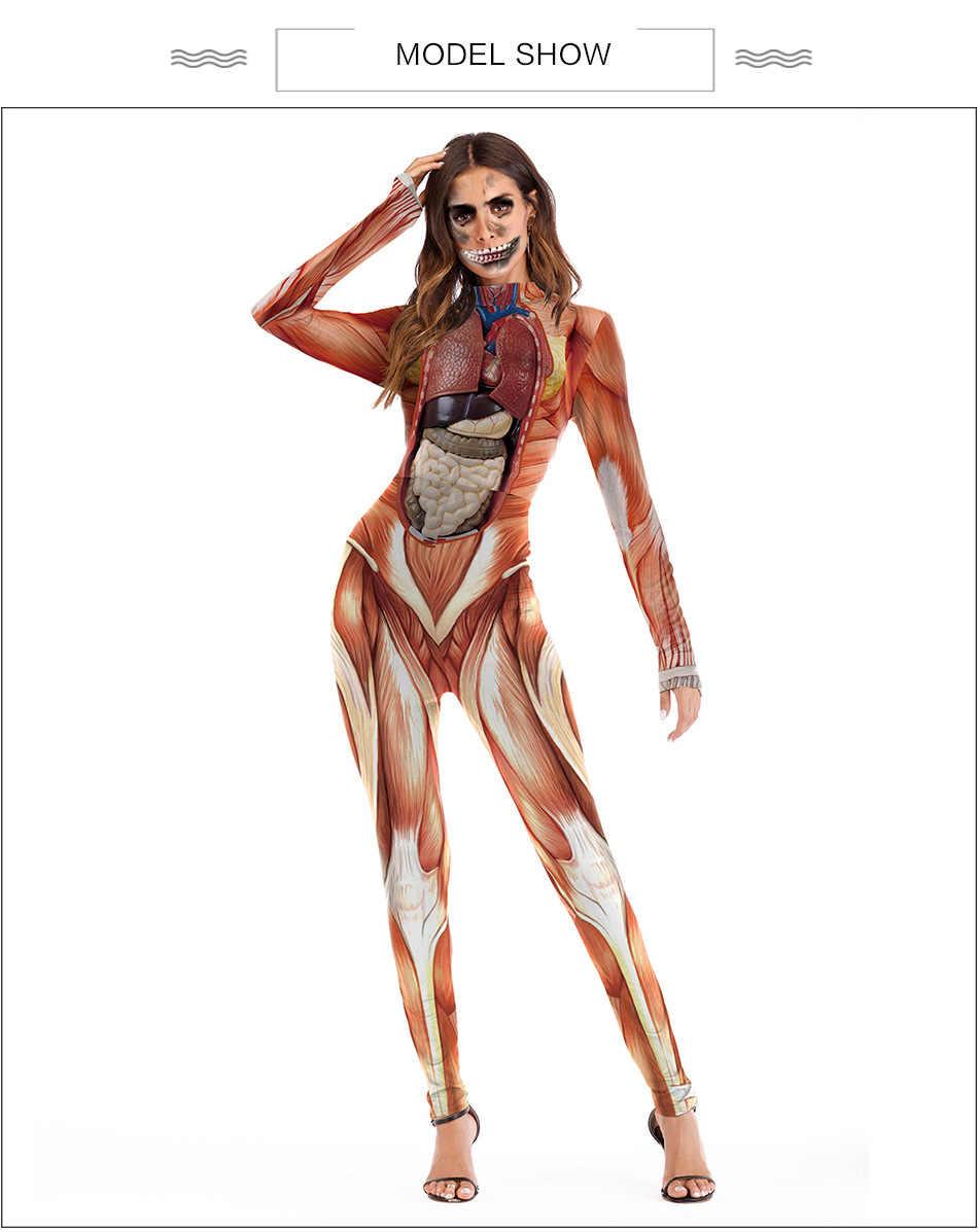 2020 novo desempenho feminino escola roupas de ensino engraçado roupa realista estrutura do corpo humano tecido impressão macacão