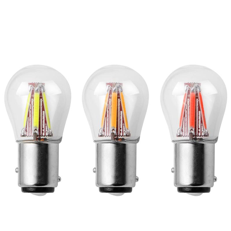 1pcs 1156 P21W BA15S 1157 BAY15D COB LED Filament Chip Car Brake Lights Auto Reverse Bulb Parking Lamp DC 12V Red White Yellow