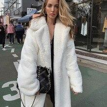 Invierno mujer Faux pelo de marta abrigo de piel blanco de lujo largo abrigo suelto solapa elegante abrigo grueso cálido de talla grande de felpa femenina