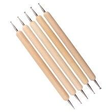 5 шт/компл перо для тиснения ногтей деревянный шариковый стилус