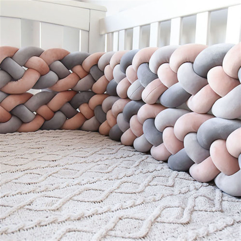 200cm Baby Bed Bumper Four Ply Knotted Braid Bumper Baby Crib Protector Infant Knot Pillow Cushion Bumper