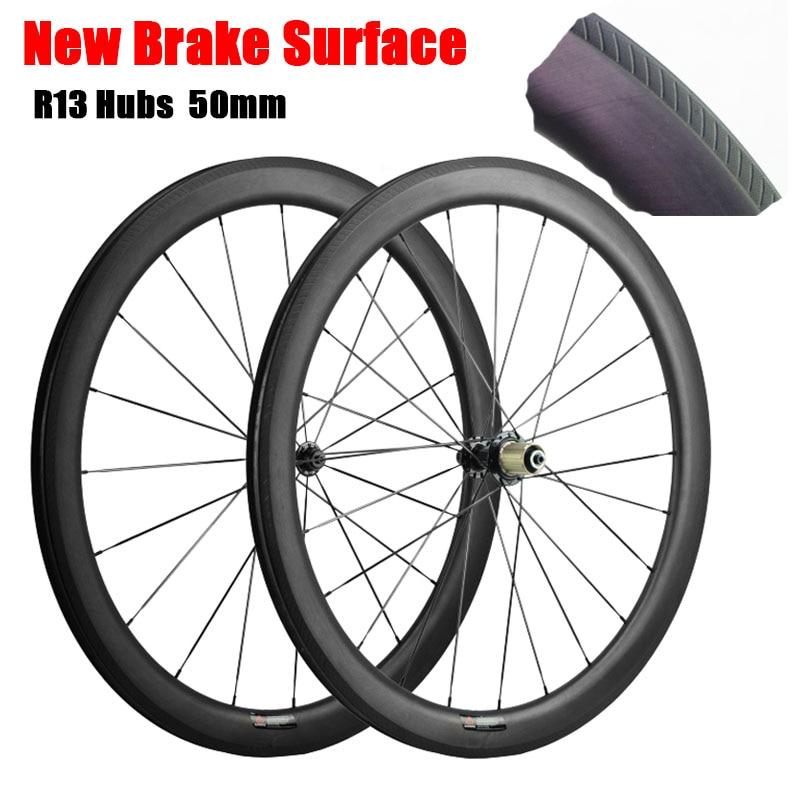 50mm Carbon Wheelset Road Bicycle Wheels Powerway R13 Hubs Full Carbon Fiber Bike Wheel Clincher Tubular 3K UD