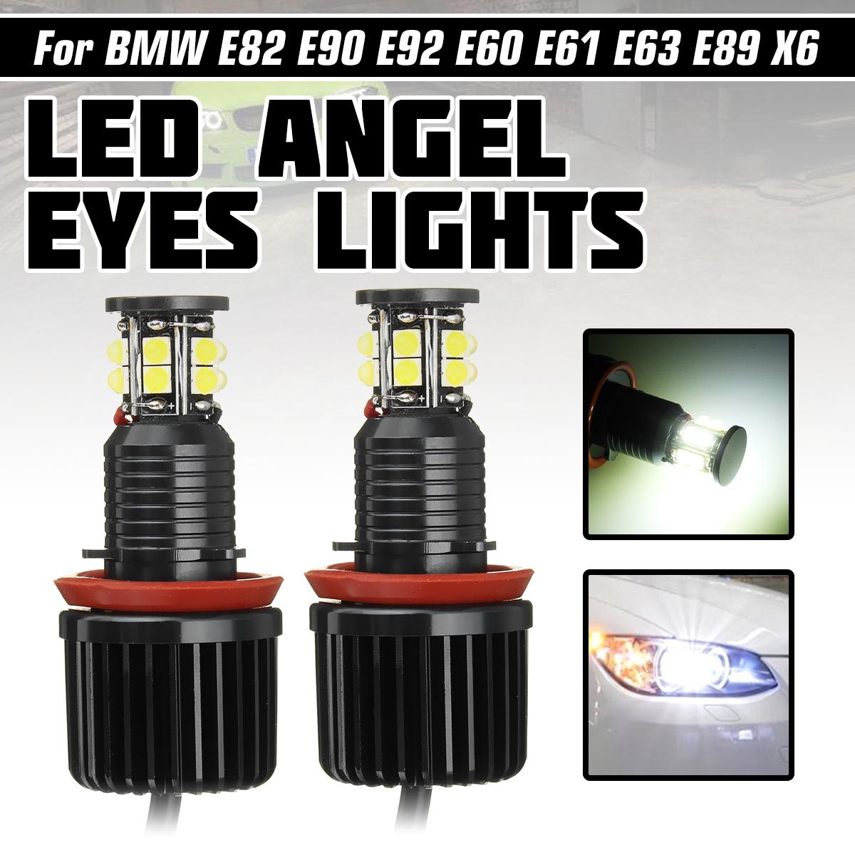 2x120 W H8 Angel Eye Halo Anel Luz Auto Lighting 6000K Para BMW E82 E87 E88 E90 E91 E92 E93 E60 E61 E63 E64 E84 X1 E70 X5 E89
