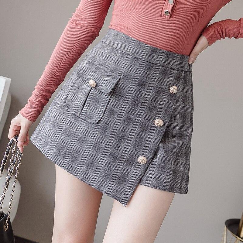 Irregular Plaid Short Pants Women's High Waist Slim A Line Mini Skirts Shorts Elegant Office Lady Buttons Shorts 2019 Autumn New