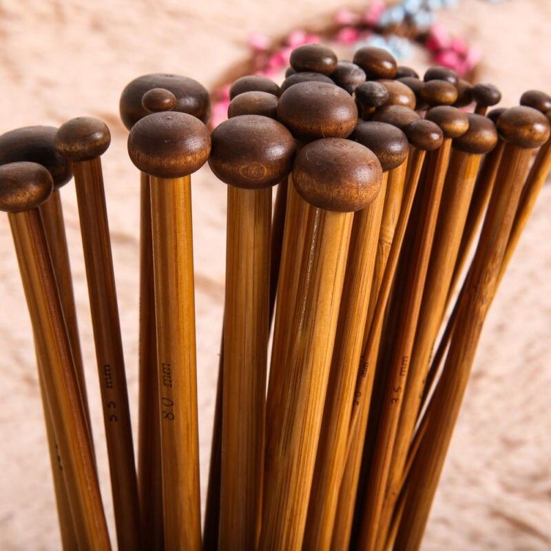 18 Sizes 36Pcs Carbonized #L Bamboo Single Point Knitting Needles Smooth Crochet